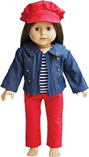 Jeans Doll Outfit for 18 inch Dolls - Denim Jacket with Striped Tee, Red Pants and Hat Fits 18 Inch Dolls - American Girl Doll Clothes