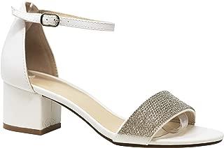 MVE Shoes Women's Open Toe Single Band Buckle Ankle Strap Chunky Low Mid Block Heel Sandal, Cake