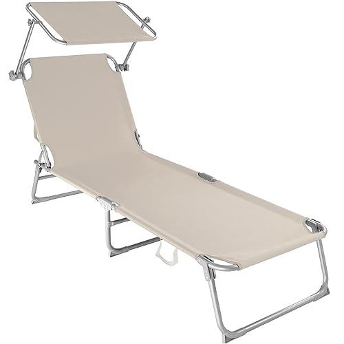 TecTake Chaise Longue Pliante Bain de Soleil avec Parasol Pare Soleil - diverses Couleurs et quantités au Choix - (1x Beige   No. 400656)