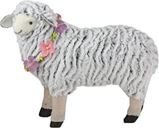 """Northlight 13"""" White and Black Plush Standing Sheep Spring Easter Figurine"""