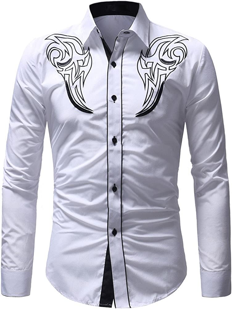 UBST Shirts for Mens, Fall Button Down Novelty Musical Note Boho Printed Beach Tops Long Sleeve Basic Casual Shirt