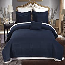 Checkered Style Soft and Plush Coverlet, 3PC Set Stitched filled Bedspread, Extra Soft Bed Cover, Checkered Pattern Quilted Bed Quilt, Navy, King