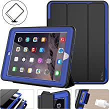 New iPad 2017/2018 case, Protective iPad 9.7 inch Smart Cover Auto Sleep Wake with Leather Stand Feature for Apple 5th/6th Generation (A1822/A1823/A1893/A1954) New iPad (Black/Blue)