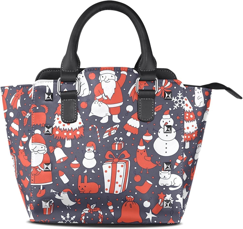Sunlome Christmas Snowman Rabbit Bird Print Handbags Women's PU Leather Top-Handle Shoulder Bags