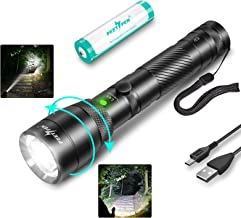1500 Lumens LED Zoom Flashlight USB Rechargeable Flashlight, IPX6 Waterproof Tactical Flashlight (With 18650 Battery), Sui...