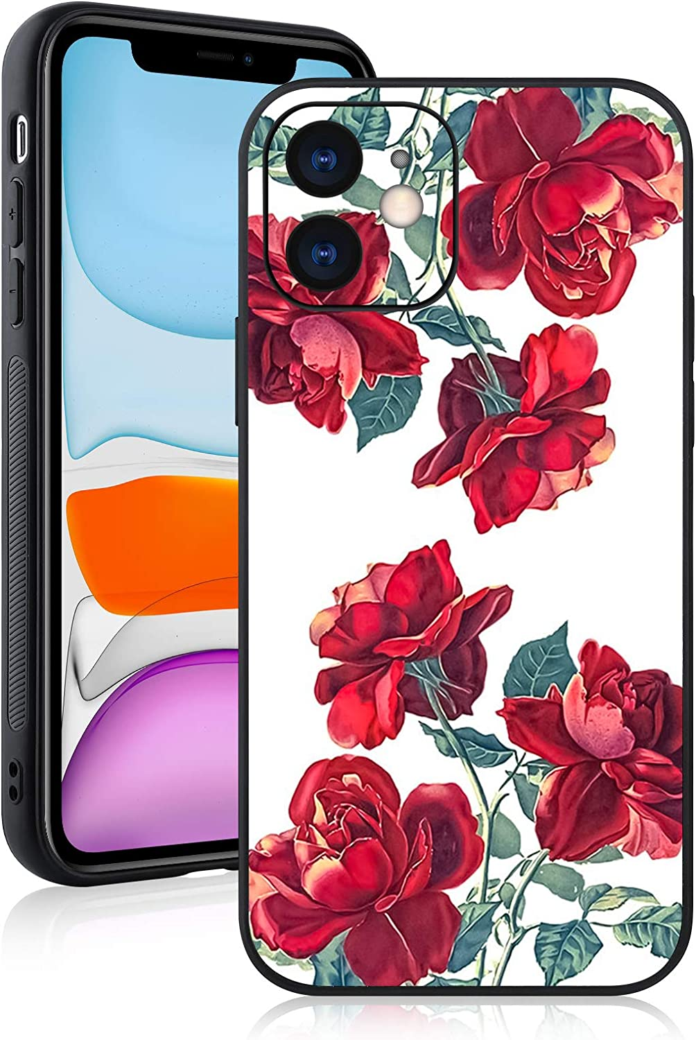 Compatible with iPhone 11 Case Rose with Camera Lens Protective Cover for Girl for Women,Hard PC Back Anti Slip Grip Bumper Protective Case for iPhone 11 6.1 Inch 2019 Rose