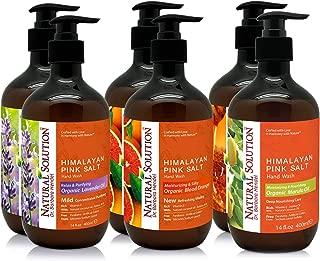 Natural Solution Himalayan Pink Salt Hand Soap Gift Set (6 Pack),Lavender Oil,Blood Orange,Marula Oil & Natural Honey