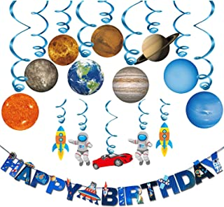 SANNOBEL Birthday Party Decorations Outer Space Supplies for Kids, Rocket Astronaut UFO Balloons Universe Happy Birthday B...