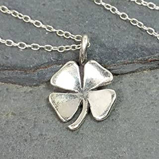 Irish Shamrock Four Leaf Clover Charm Necklace - 925 Sterling Silver, 18