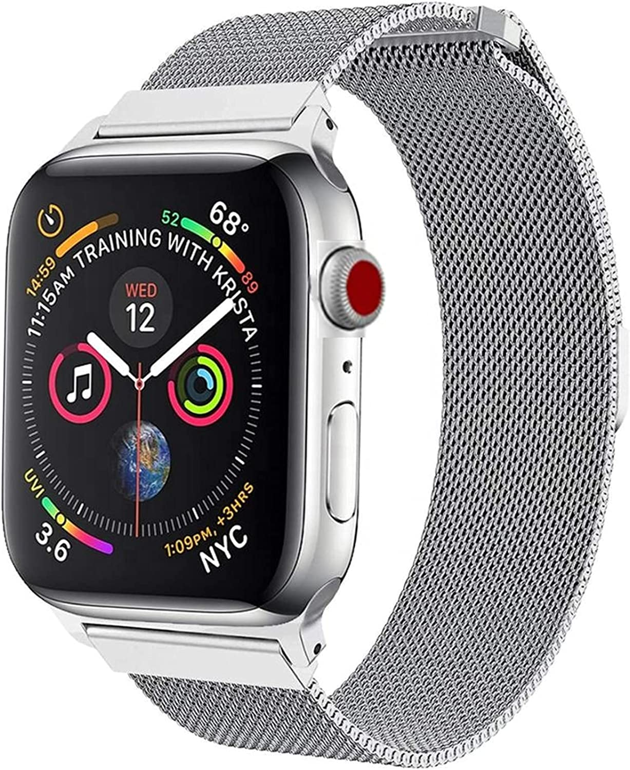Baguard Magnetic Band Compatible with Apple Watch Band 38mm 40mm 41mm 42mm 44mm 45mm, Stainless Steel Mesh Strap with Adjustable Loop, Metal Wristband Compatible for iWatch SE Series 7 6 5 4 3 2 1 for Women Men