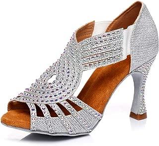 YKXLM Women's Professional Rhinestone Ballroom Wedding Dance Shoes Latin Salsa Performance Practice Dance Shoes,Model AUYCD5