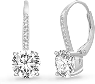 Womens Round Cubic Zirconia Drop Lever Back Bridal Gift Earrings in Sterling Silver