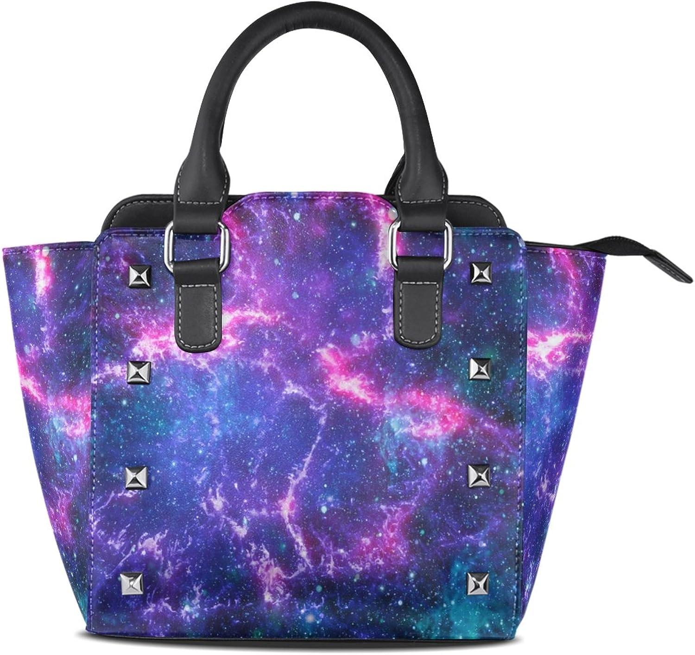 My Little Nest Women's Top Handle Satchel Handbag colorful Galaxy Nebula Ladies PU Leather Shoulder Bag Crossbody Bag