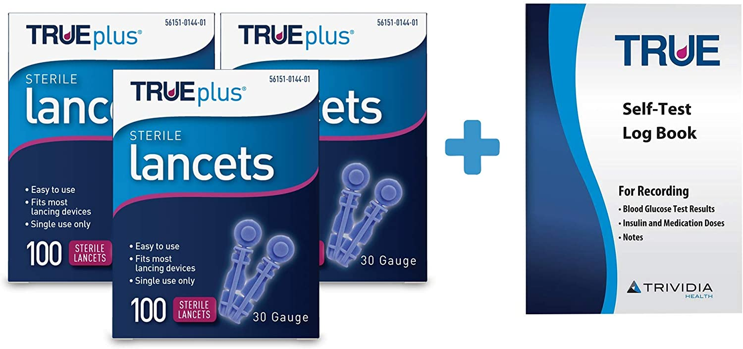 New product 3 x 100ct 30g TRUEplus® Lancets Log + Manufacturer direct delivery Book