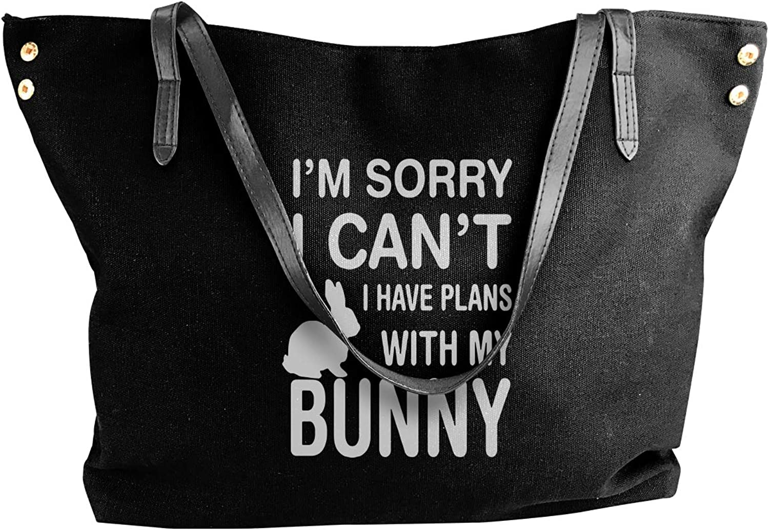 Sorry I Can't I Have Plans With My Bunny Women'S Casual Canvas Handbag For Travel Shoulder Tote