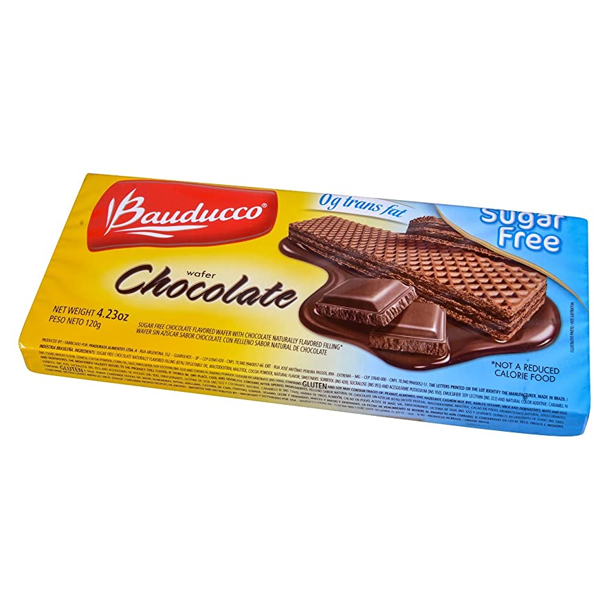 Bauducco Cookie Wafer Chocolate Sugar Free 4.23 oz. (Pack of 3)
