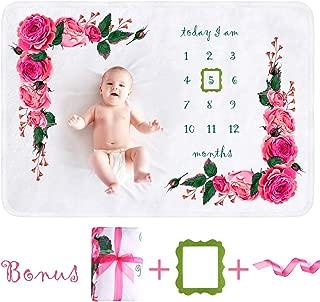 "Vanja Baby Monthly Milestone Blanket for Girls, Soft Fleece Photography Background Memory Blanket for Newborn Girl Boy, Photo Blanket for Baby, Best Bonus Frame & Ribbon (60"" x 40"")"