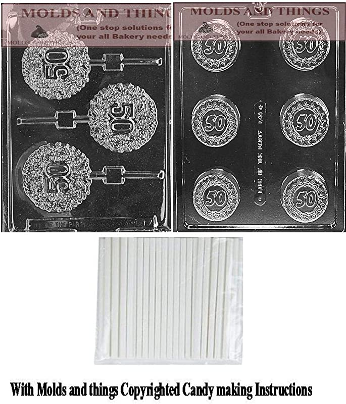 MOLDS AND THINGS 50TH Lolly Chocolate Candy Mold 50 Anniversary Cookie Chocolate Candy Mold 50th Birthday Chocolate Candy Mold With Copyrighted Molding Instruction 50 Lollipop Sticks