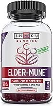 Elder-Mune Elderberry Gummies 125mg, Vitamin-C and Zinc for Optimal Immune System Support, Non-GMO