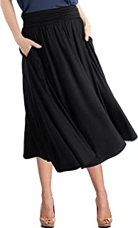 TRENDY UNITED Women's Rayon Spandex High Waist Shirring Flared Pocket Skirt