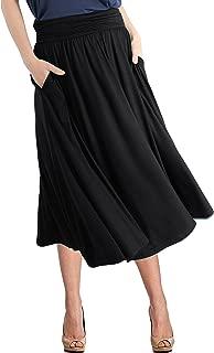 Women's Rayon Spandex High Waist Shirring Flared Pocket Skirt
