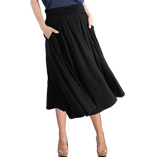 5ef0283c206 TRENDY UNITED Women s Rayon Spandex High Waist Shirring Flared Pocket Skirt