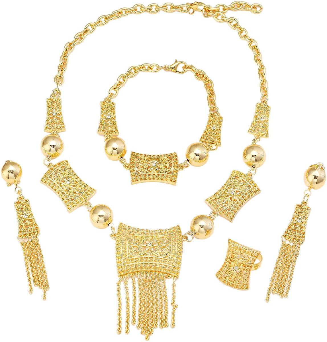 African Jewelry Set 24K Gold Ethiopian India Dubai Gold Bride Jewelry Set