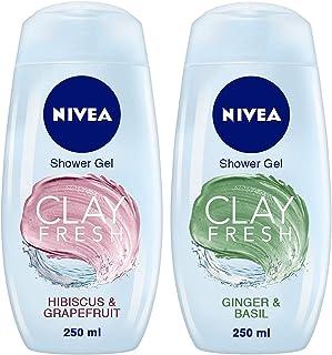 NIVEA Shower Gel, Fresh Hibiscus & Grapefruit Clay Body Wash, Women, 250ml & NIVEA Shower Gel, Fresh Ginger & Basil Clay B...