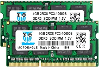 Motoeagle 8GB Kit (2x4GB) 2RX8 PC3-10600 PC3-10600S DDR3 1333MHz SODIMM 204 Pin 1.5V Laptop Memory Notebook RAM Module for Intel AMD and Mac Computer