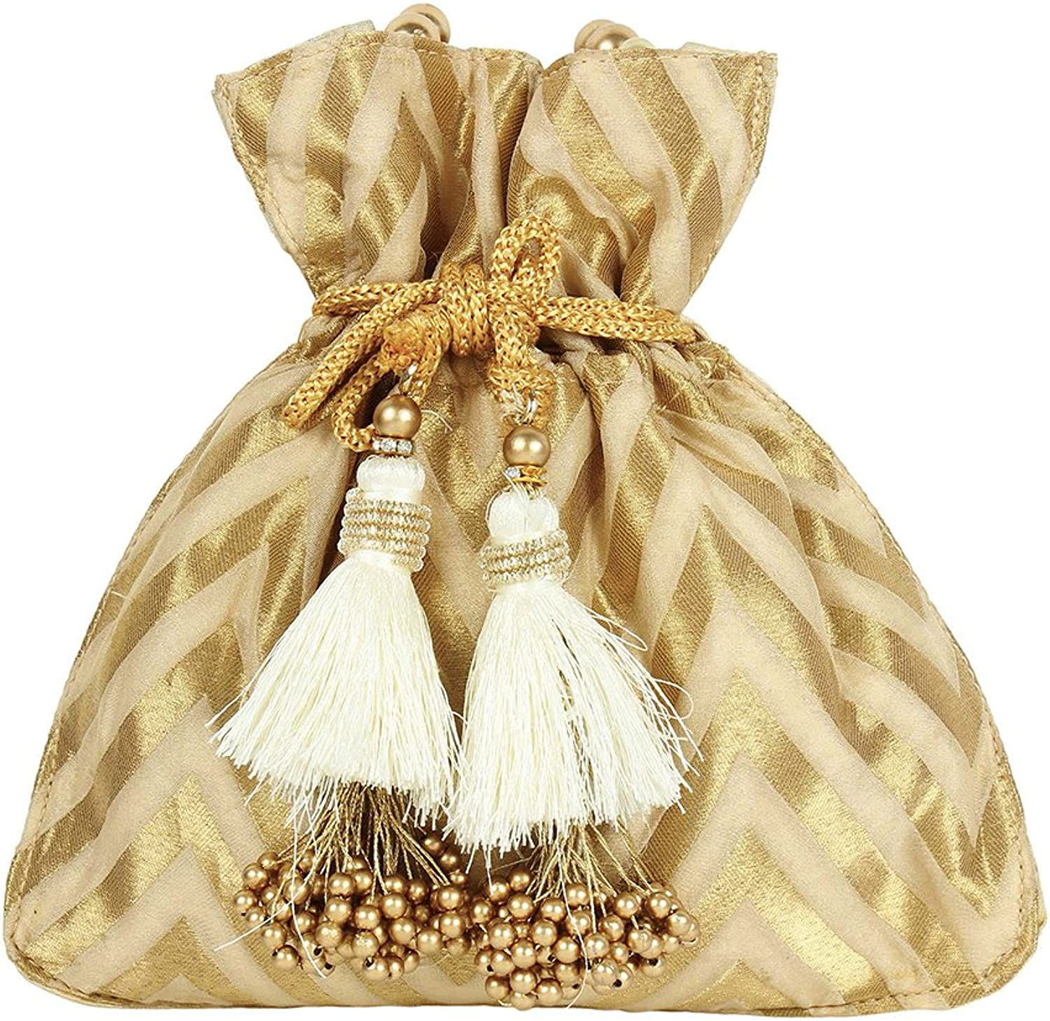 Purse Collection Ethnic Traditional Indian Designer gold Colured Polti Purse For Womens