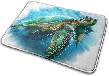 Bath Mat Door Mats Big Green Sea Turtle Ocean Animal Memory Foam Front Rug Bathroom Rugs Carpet for Inside Outdoor 15.7 X 23.5 in