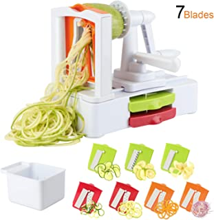 TOROTON 7-Blade Spiralizer Vegetable Slicer, Vegetable Spiral for Zucchini Noodles and Veggie Pasta Maker, Best Veggie Pasta Spaghetti Maker for Low Carb/Paleo/Gluten-Free Meals, with Blade Container