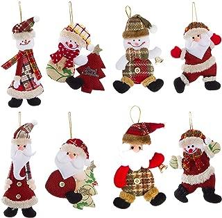 Alphatool 8 Pcs Christmas Plush Hanging Ornaments- 8 Cute Xmas Tree Hanging Plush Decorations Festive Season Pendant in Red White Green Santa Snowman Design Doll for Christmas Tree Holiday Party Decor