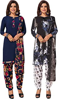 S Salwar Studio Women's Pack of 2 Synthetic Printed Unstitched Dress Material Combo-MONSOON-2855-2870