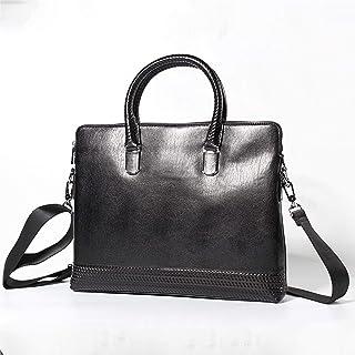 Shoulder Bag 6L Leather Work Bag Men's Business Briefcase First Layer Cowhide Cross Section Square Laptop Crossbody Bag Black Casual Handbag