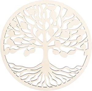GLOBLELAND 12Inch Tree of Life Wooden Wall Art Sacred Geometry Home Decor, Laser Cut Wooden Wall Sculpture for Wall Hanging Decor Art Home Decoration
