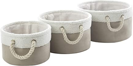 Urban Shop Sherpa Trim Circular Storage Bin, Set of 3, Taupe