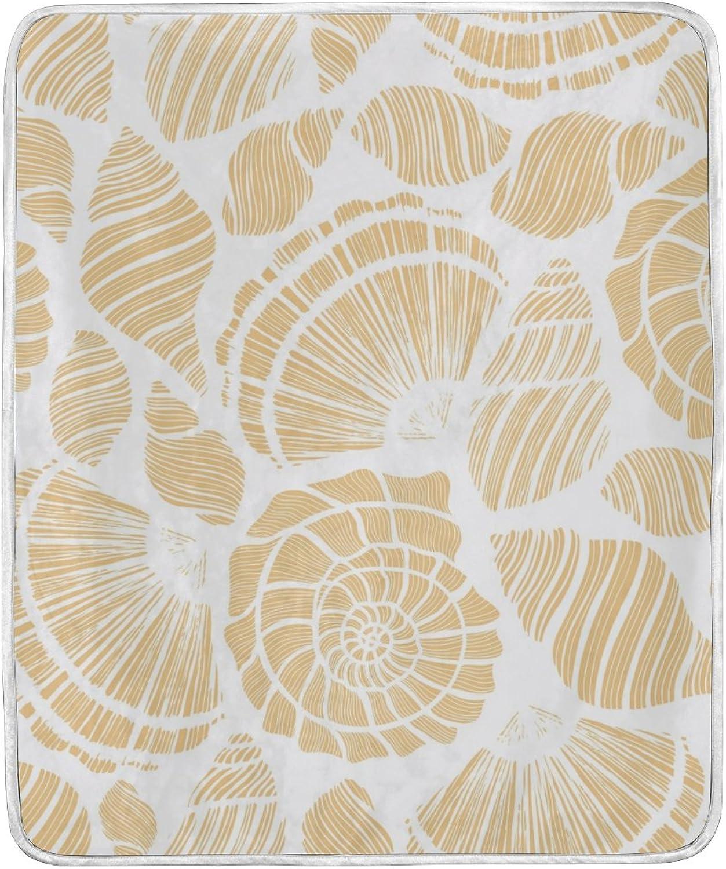U LIFE Ocean Sea Beige Seashells Soft Fleece Throw Blanket Blankets for Nap Couch Bed Kids Adults 50 x 60 inch