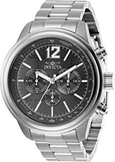 Invicta Men's Aviator Quartz Watch with Stainless Steel Strap, Silver, 22 (Model: 28894)