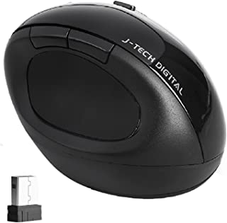 J-Tech Digital Wireless Mouse Ergonomic Vertical Mouse USB 2.4G High Precision Optical Mice with Adjustable Sensitivity (800/1200/1600 DPI) 5 Buttons & Scroll Wheel - Reduces Hand/Wrist Pain