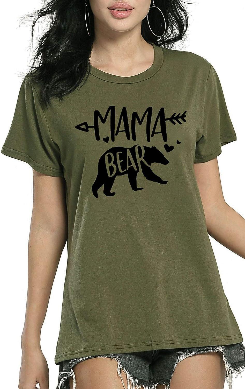 Women Mama Import Bear T Shirts Rare Short Sleeve O-Neck Casual Cute Tee Sum