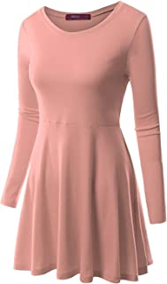 MRstriver Round Neck Flared Skater Tunic Dress for Women with Plus Size