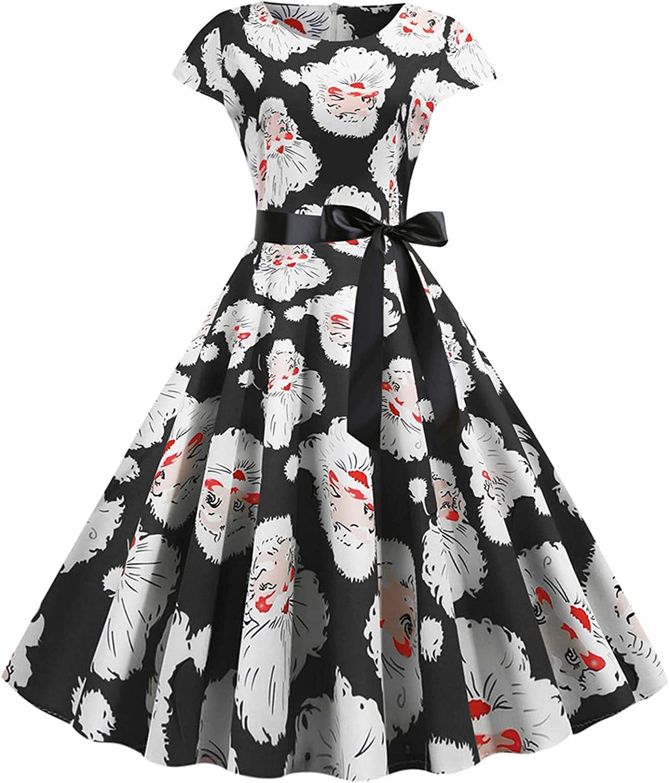 Womens Dresses Zipper Bandage Retro Christmas Printed Short Sleeve Evening O-Neck Party Prom Vintage Dress
