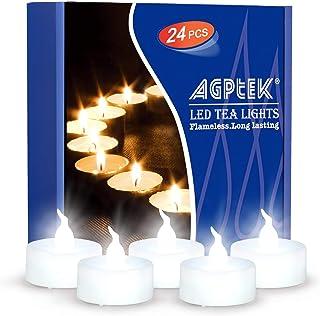 AGPTEK 24 st flimrande batteridriven fejk elektrisk LED värmeljus kallt flamlösa ljus för jul utomhus halloween bröllopsde...