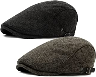 ALL IN ONE CART 2 Pack Men's Warm Wool Tweed Blend Newsboy Flat Cap Ivy Cabbie Driving Winter Hat