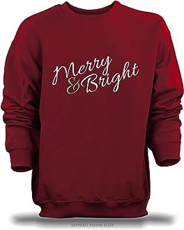 PUSHING BLACK Merry /& Bright Unisex Pullover Hoodie