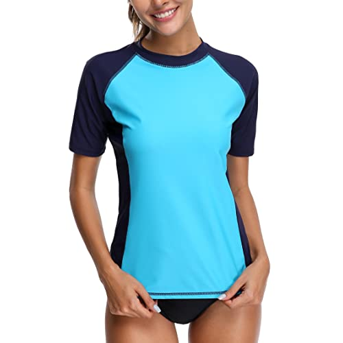 159f77941f Alove Women's Rash Vest Short Sleeve Rash Guard Tankini Top Sun Protection  Swim Top UPF 50