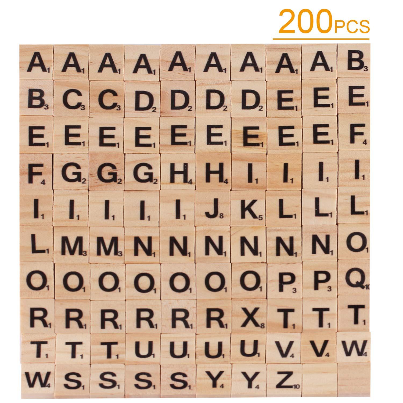 Scrabble Azulejos Letras de Madera – Azulejos de Madera Letras A-Z mayúsculas para Manualidades, 200 Piezas: Amazon.es: Juguetes y juegos