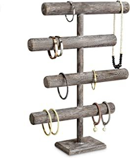 Mooca Wooden 4-Tier Jewelry Display Stand, Wooden Necklace Jewelry Display Organizer Bracelet Holder for Shows, Wooden Bracelet Watch Display Stand, Coffee Color