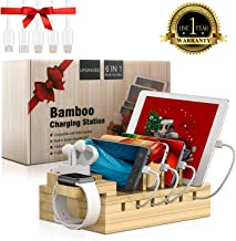 Charging Station for Multiple Devices Bamboo Docking Station Organizer with 5 USB Ports Charger Compatible with iPhone Airpods iwatch cell phone
